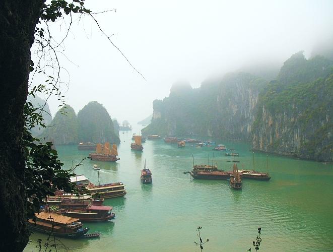 Mist shrouded Halong Bay.