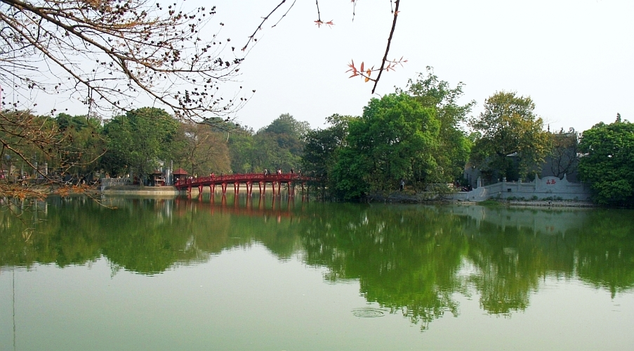 Hoan Kiem Lake with the Red-painted Huc Bridge.