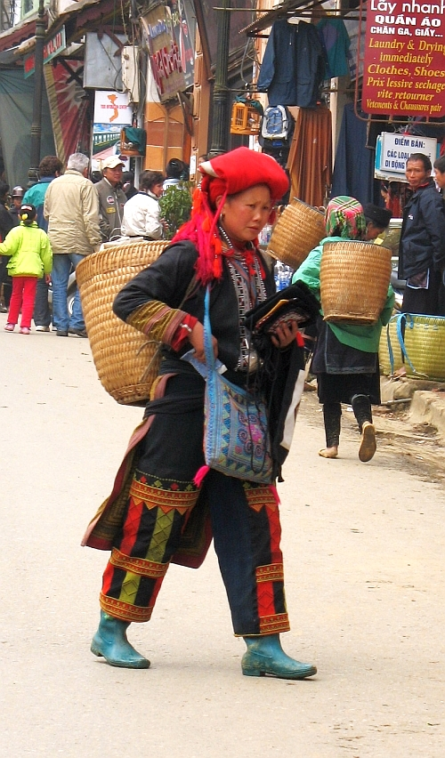 Red Zao Woman in Traditional Attire.