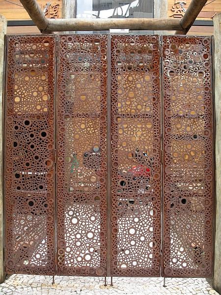 Wooden Screen doors of restaurant