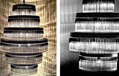 2 chandeliers showing recycled clear and black plastic Bic pens