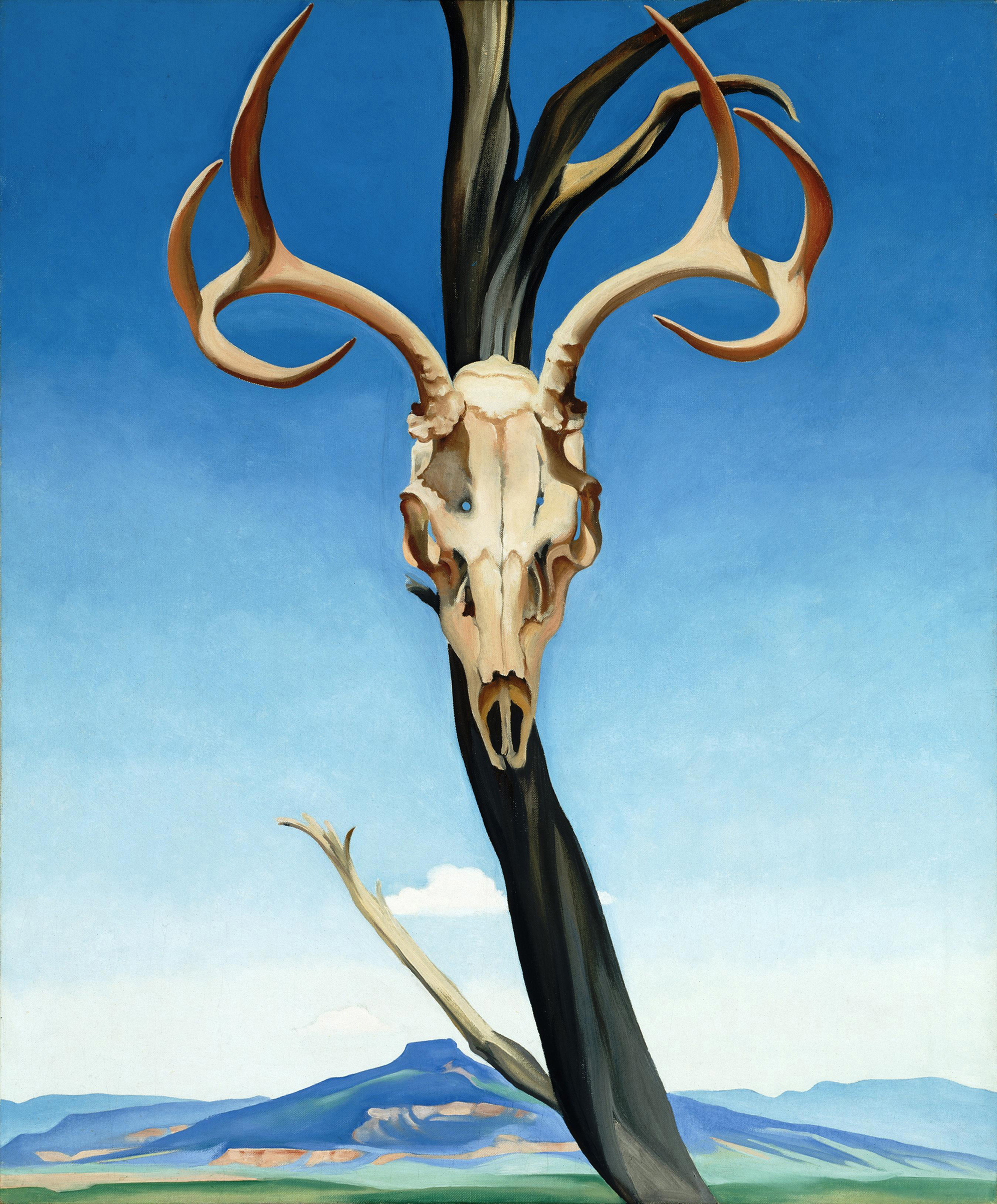 "Georgia O'Keeffe painting Titled ""Deer's Skull with Pedernal"""