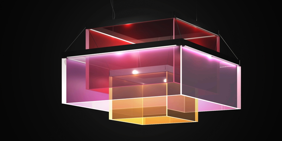 Square lamp in red, magenta and orange colors