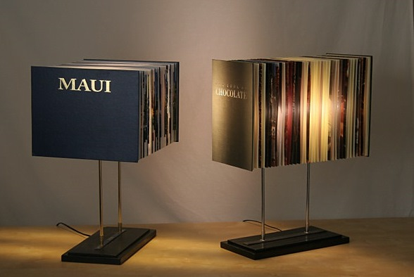 Table lamp made from recycling hardcover books