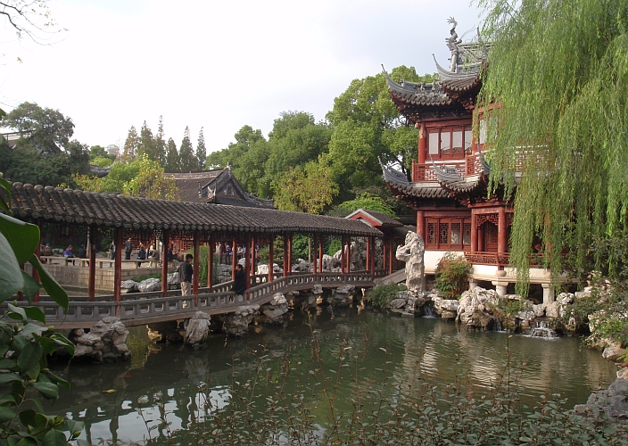 Yuyuan (Yu Garden) showcases elegant rockeries, ponds, pavilions, and towers.
