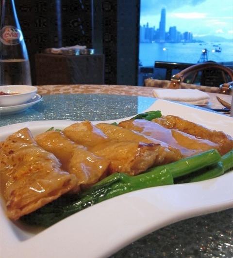 Dim sum dish with harbor view