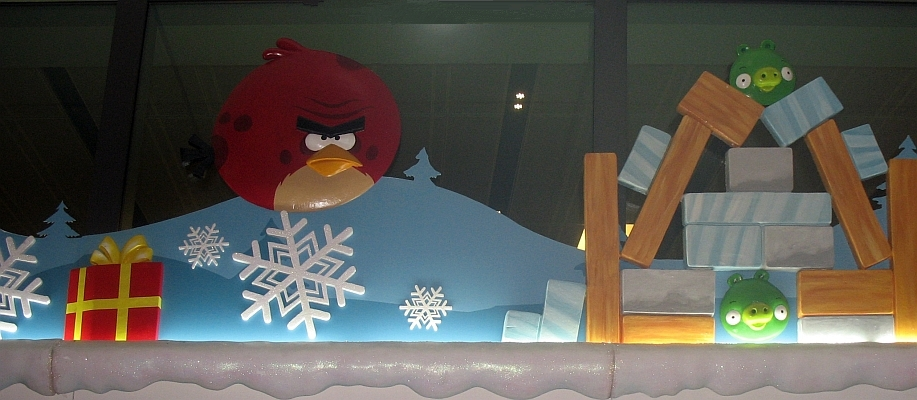 Angry Birds in Holiday Scene at the Singapore Airport