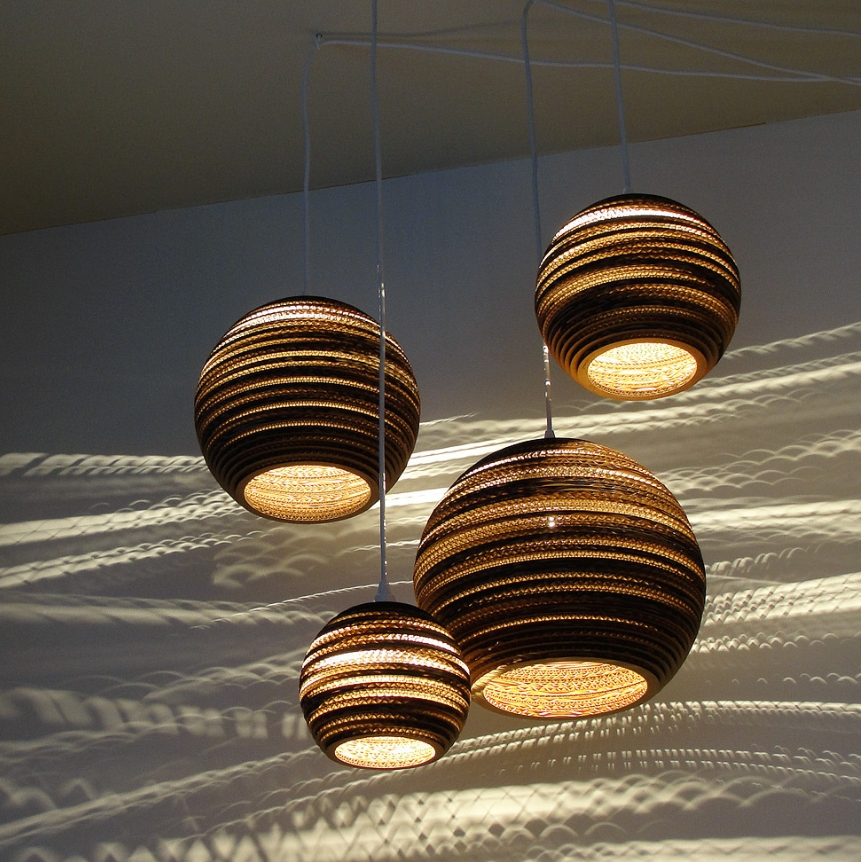 Lampshades from repurposed cardboard boxes