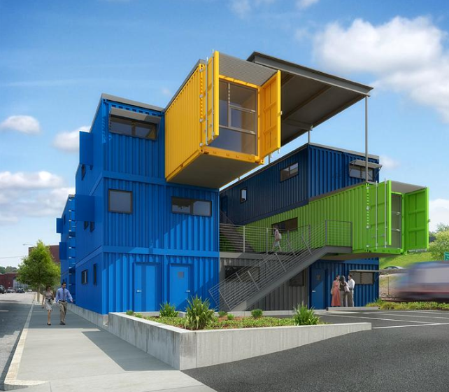 An office 'building' from repurposed shipping containers
