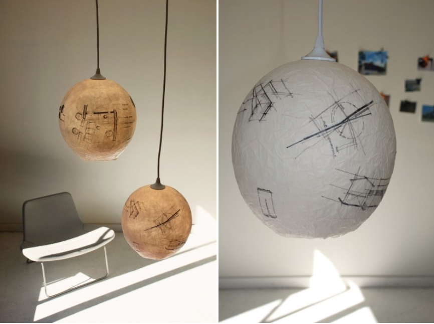 Pendants made of discarded sketch paper