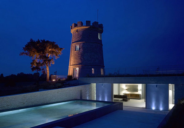 Round tower repurposed into a residence.