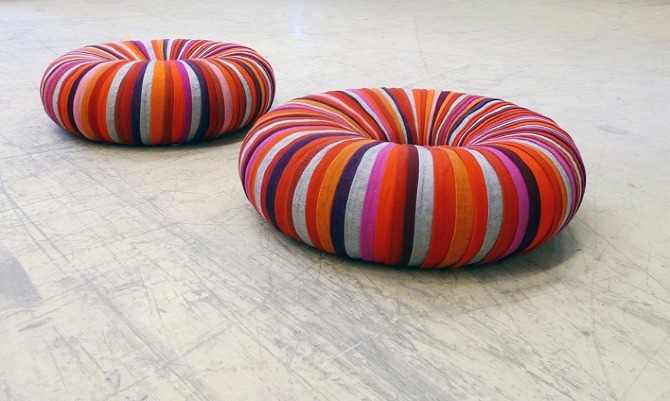 Eco-friendly seating made up of inner tube covered with recycled upholstery material