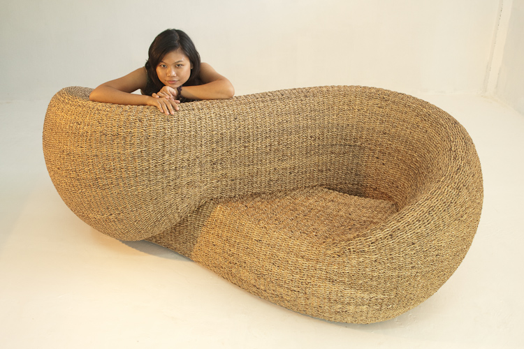 Armchair made of wter hyacynth, a rapidly renewable plant