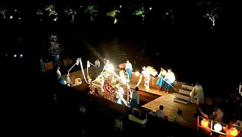 Tenjin Matsuri boat with shrine