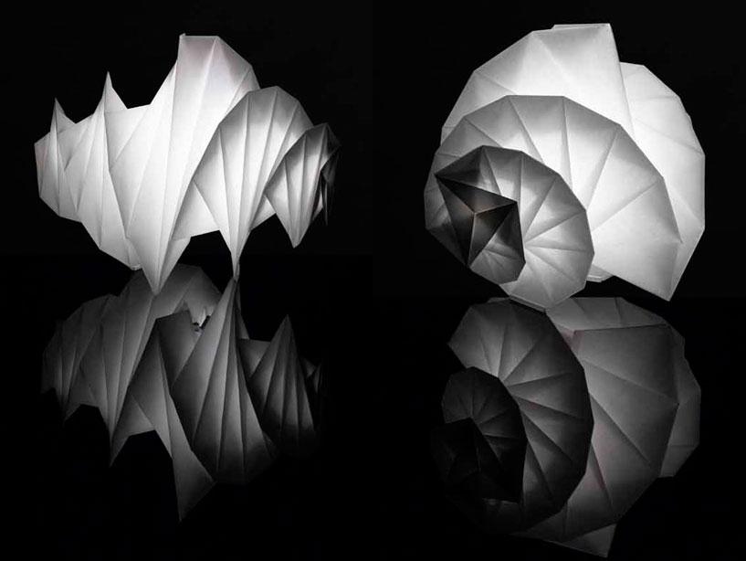 Issey Miyake fabric shade lamps