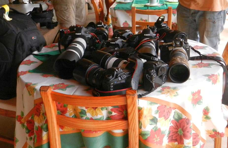 Cameras on Berenty lodge table