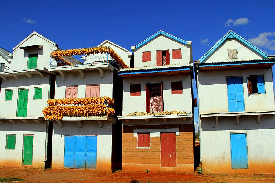 Row of houses in the Malagasy countryside