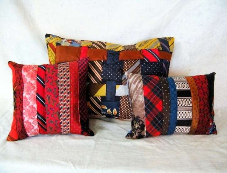 Ties repurposed into pillows