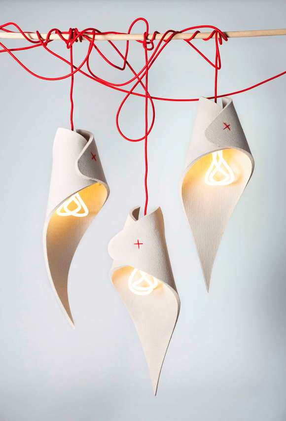 A pendant light made from recycling industrial waste