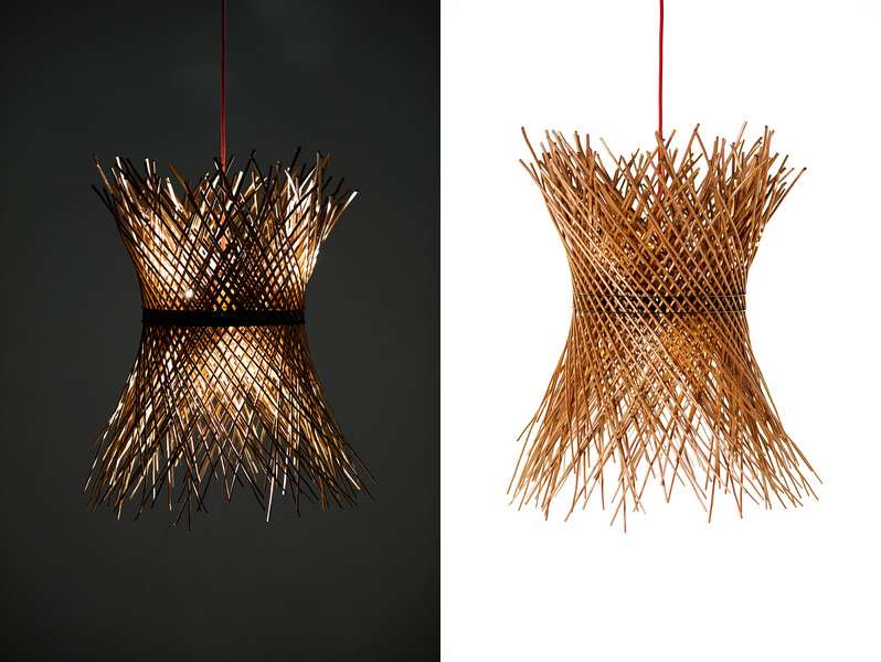 Pendant light fixture made from willow reeds