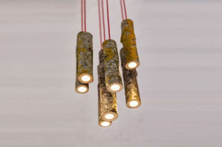 led pendant of ash branches bamboo lighting fixtures