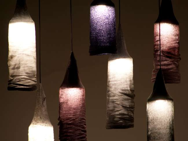 Pendant light made from repurposed socks