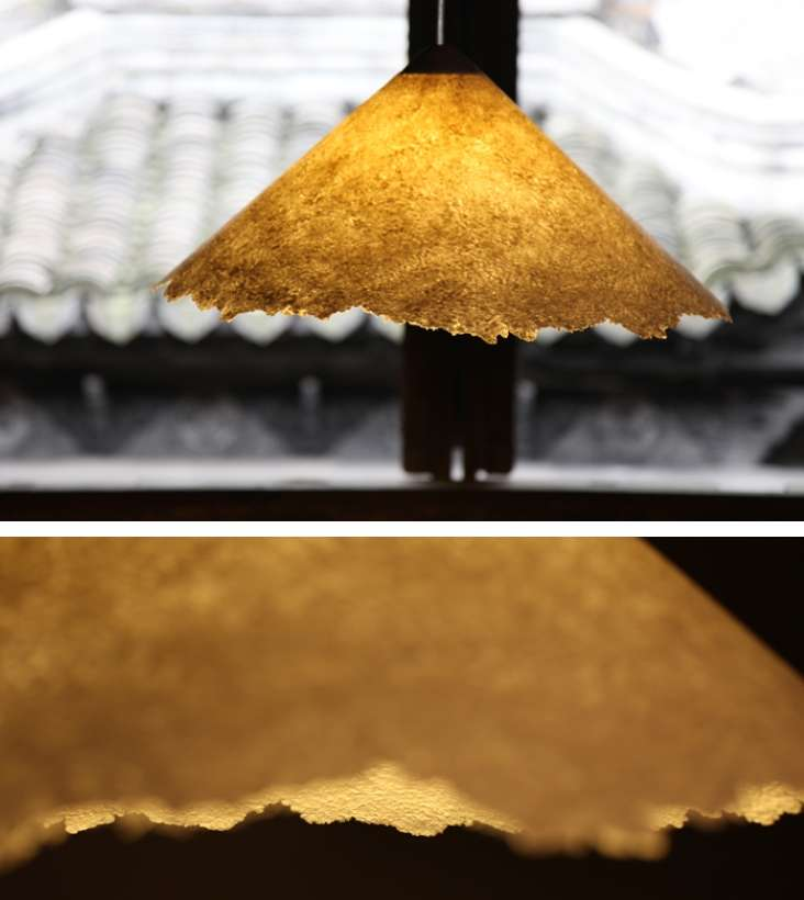 Suspended lighting fixture made of handmade bamboo paper
