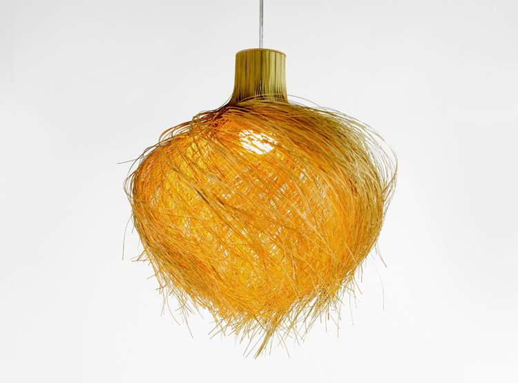 Suspended light of finely shredded bamboo
