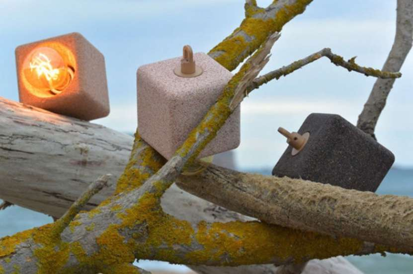 Cube-shaped lighting made from baked sand