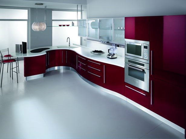 Kitchen with curved counter