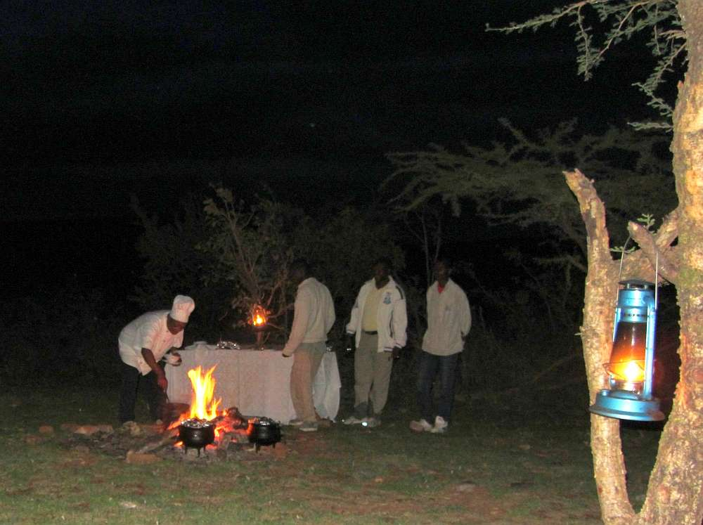 Bush dinner prepared by the lodge chef and staff