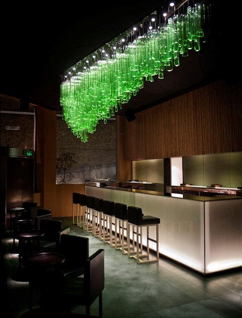 Green glass light sculpture