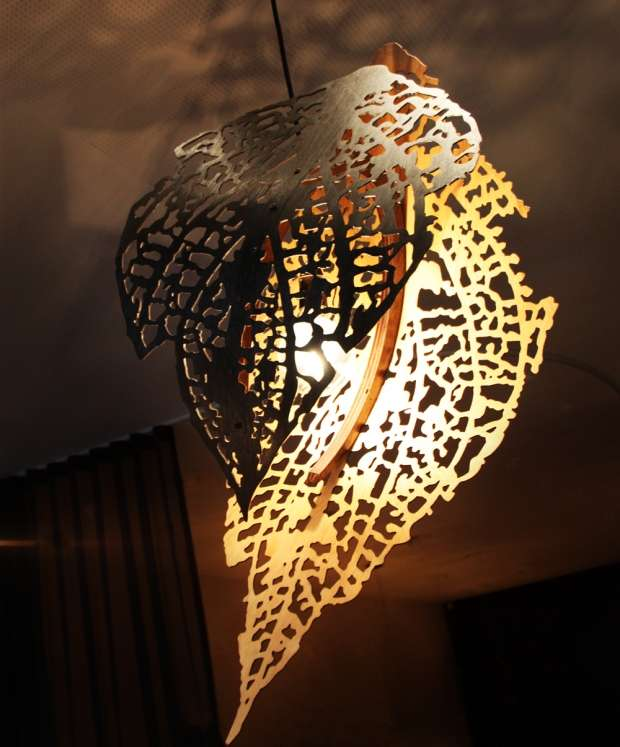 Light fixture inspired by a leaf.