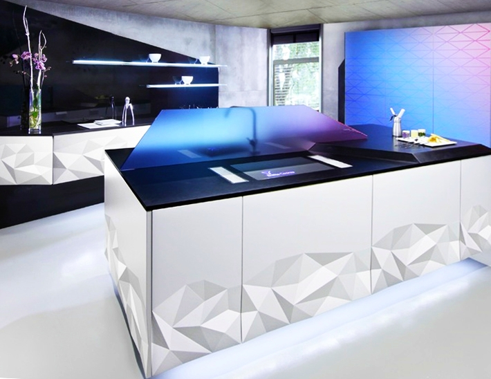 Kitchen with 3D cabinet doors