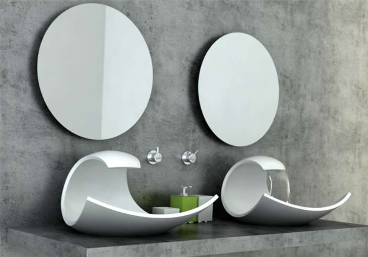 Integrated sink and faucet into the shape of a breaking wave