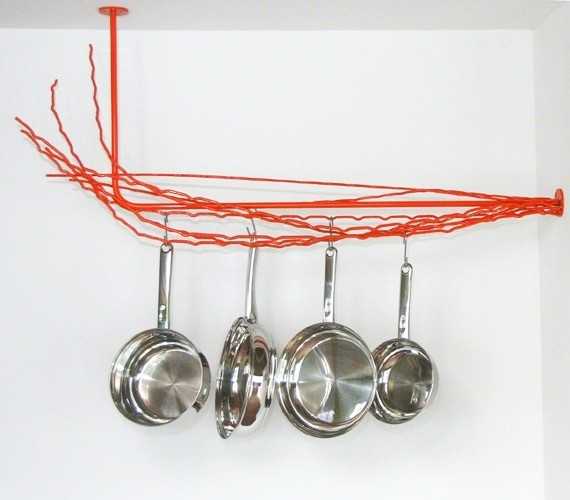 Pot rack from recycled steel loom ends