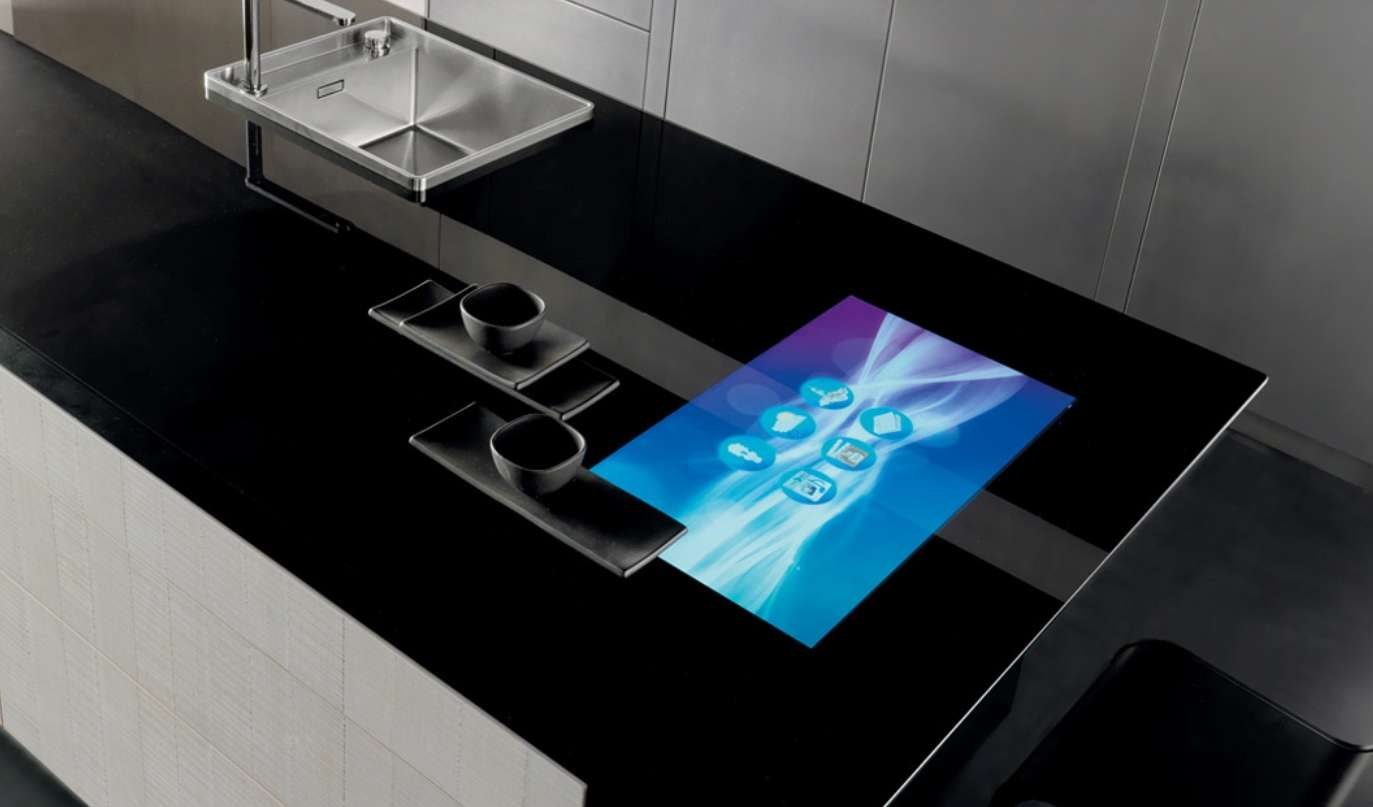 Toncelli's Invisible glass kitchen countertop with wifi.