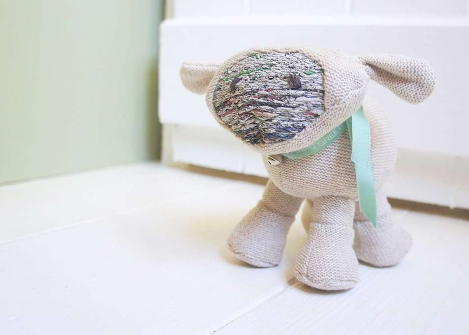 Baby toy from recycled paper yarn