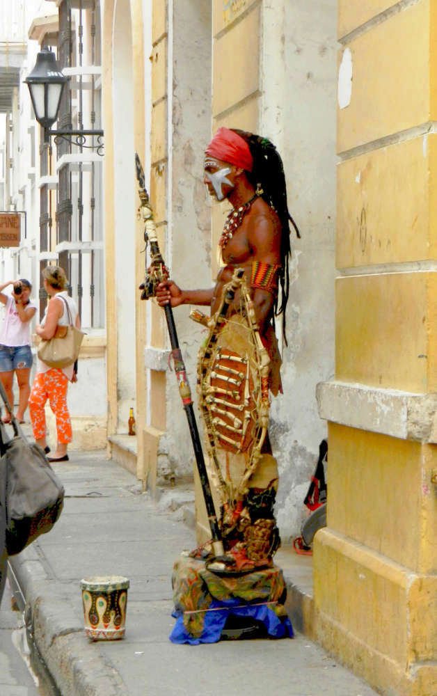Street entertainer in the historic center  of Cartagena