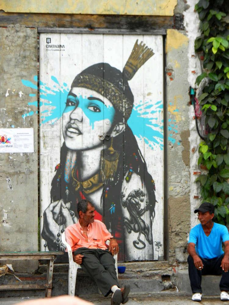 Graffiti artist fin DAC's 'La Heroica' at Plaza De La Trinidad, Getsemani