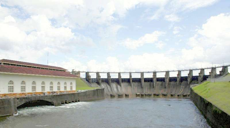 Concrete spillway of the Gatun Dam along the Panama Canal
