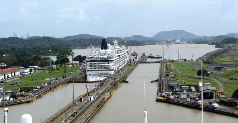 The Infinity approaching the Pedro Miguel locks in the Panama Canal