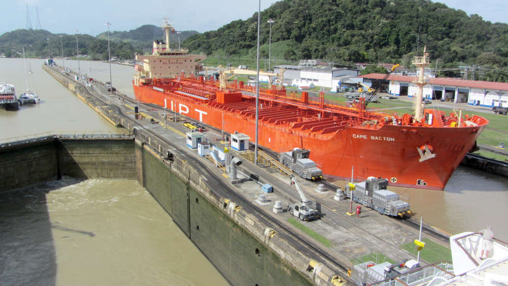 Our ship leaving the Miraflores locks