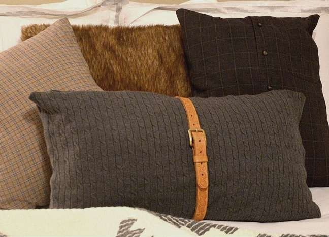 Pillows made from reclaimed fabrics and belt