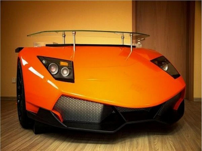 Lamborghini car front recycled into a bar counter