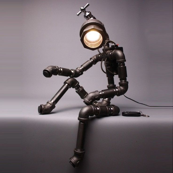 Table lamp from recycled plumbing parts
