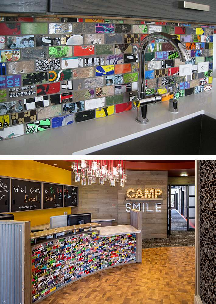 Wall tiles from recycled skateboard decks