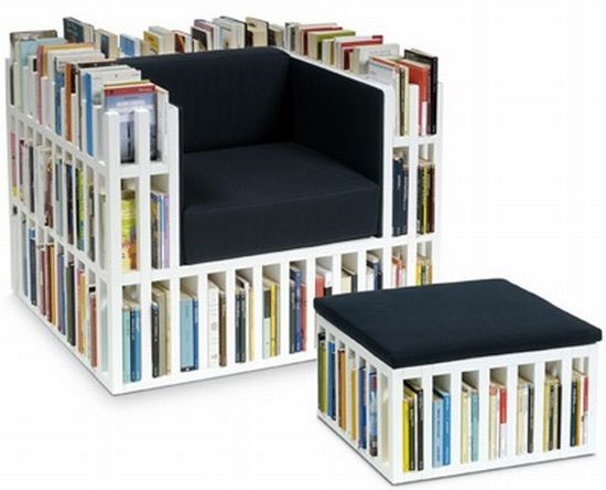 Chair with used books in the frame