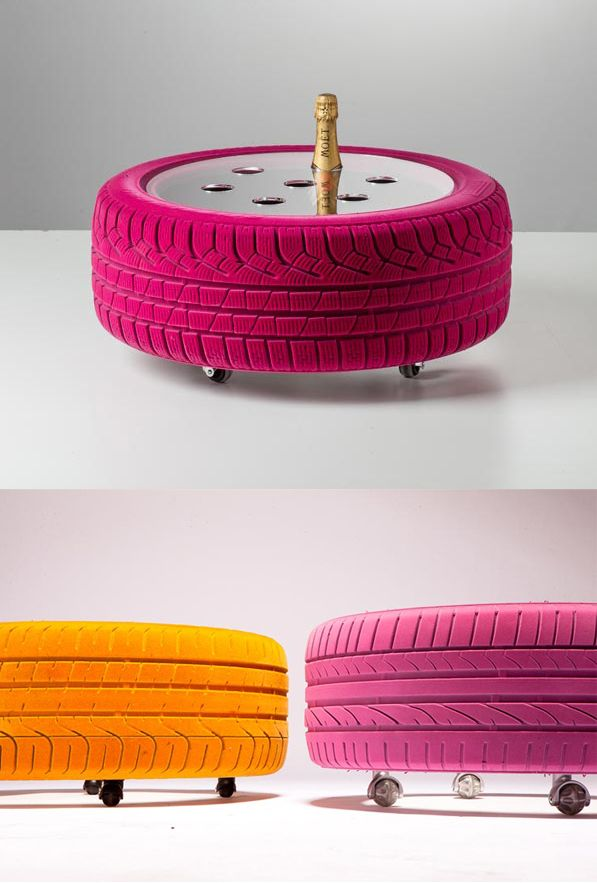 Wine cooler from repurposed tires