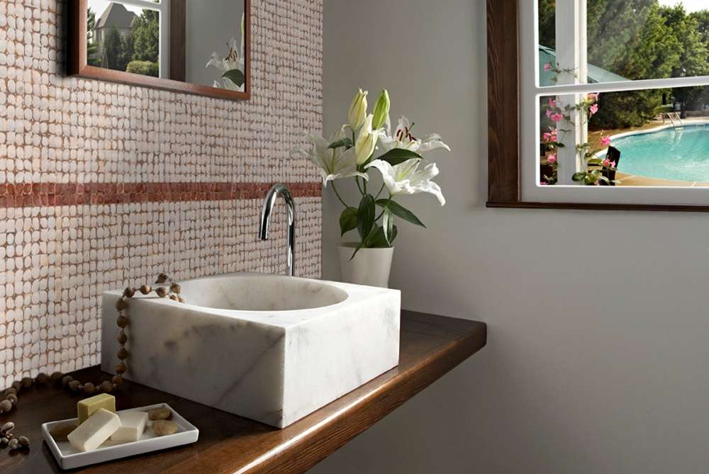 Backsplash of mosaic tiles made from coconut shells